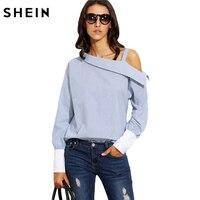 SHEIN Womens Tops Moda Sonbahar Bayanlar Mavi Çizgili Asimetrik Omuz Uzun Kollu Kontrast Manşet Bluz Üzerinde Kat