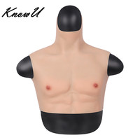KnowU Fake Chest Muscle Belly Macho Soft Silicone Man Artificial Simulation Muscles High Collar Version Cosplay
