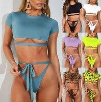 High Waist Swimsuit 2019 Sexy Bikini Women Brazilian Pad Swimwear Push Up Bandeau Top Plus Size Bottom Bikini Set Bathing Suits