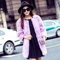 Осень И Зима Сгущает Мода Женщин Реального Шуба Розовый 11 цвета Средней Длины Теплый Натурального Меха Кролика Куртки Пальто Плюс Размер