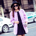 Outono E Inverno Engrossar Moda Mulheres Reais Casaco De Pele Cor de Rosa 11 cores Naturais De Pele De Coelho de Médio Longo Quente Jaqueta Casacos Plus Size