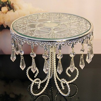 top grade crystal cake stand with silver color stand / wedding centerpiece