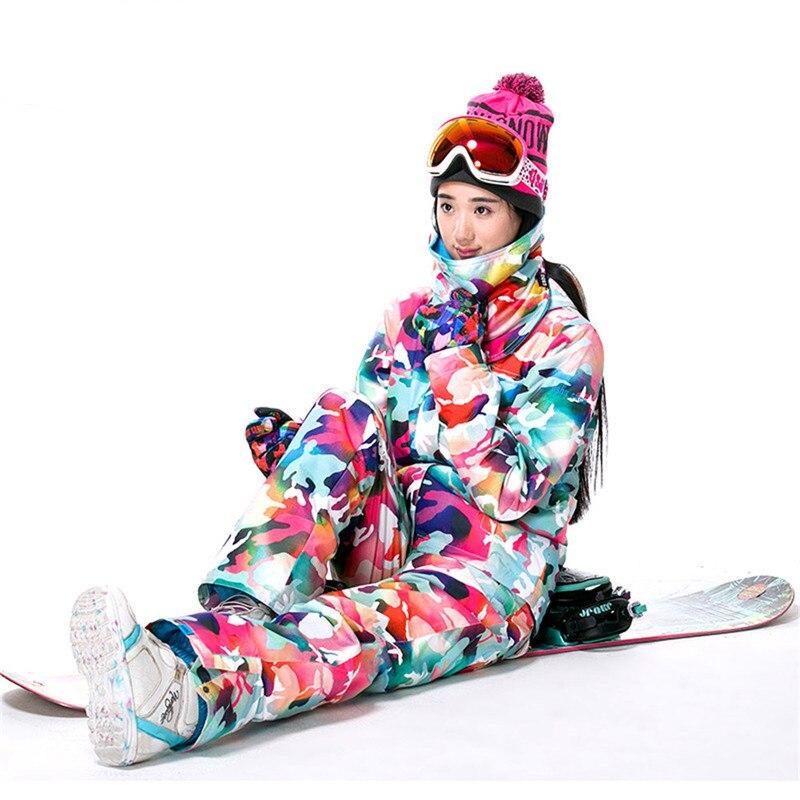 Marque Ski Costume Femmes Ski Imperméable À L'eau Chaude Costumes Ensemble Dames Sport En Plein Air D'hiver Manteaux Snowboard Neige Vestes et Pantalons