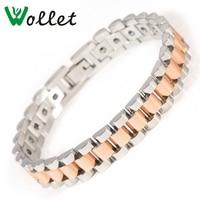 Wollet Jewelry Stainless Steel Bracelet Women Men Metallic Rose Gold Color Solid Germanium Hematite Health Energy