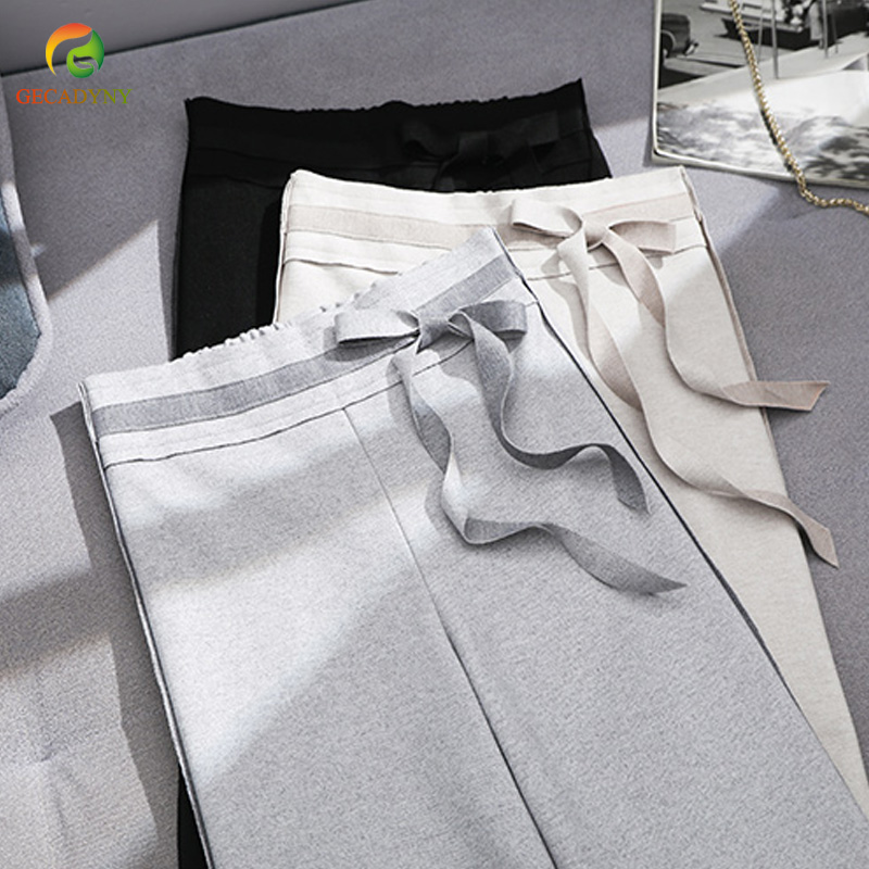 2019 New Pattern Women's High Waist Woolen   Wide     Leg     Pants   For Autumn Winter Casual Loose Soft Bow OL Trousers Female Work Wear