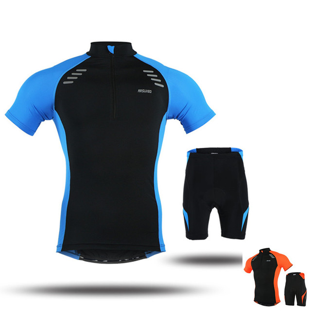 Outdoor Sport Short Sleeves Cycling Clothing Sets For Men (Cycling Jersey+ Shorts)~Blue Orange Breathable Bicycle Mtb Bike Wear 334681b64