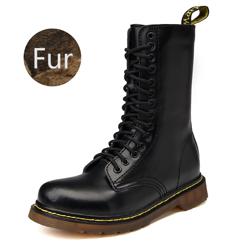 Winter Boots Men Doc Martins Leather Men Winter Boots Tactical Military Boots Size 35~46 Handmade Mid Calf Footwear Work Shoes