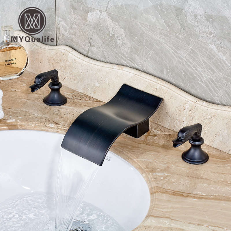 Oil Rubbed Bronze Deck Mount Two Handles Swan Basin Faucet Bathroom Sink Mixer Tap 3 holes Waterfall Spout new luxury oil rubbed bronze deck mounted waterfall basin faucet dual handles sink mixer tap