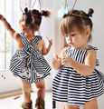 Children Dress Cute Striped Baby Girls Clothes Newborn Baby Girls Stripe Backless Briefs Outfit Summer Sunsuit  Blue