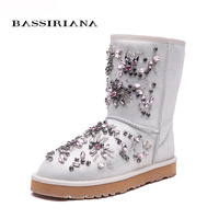 BASSIRIANA New 2017 Black White Ankle Boots For Women Metal Decoration Fashion Ladies Sexy Boots Winter