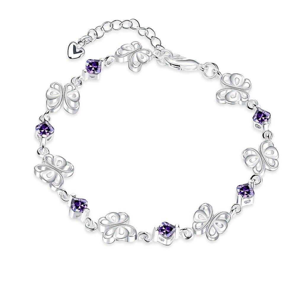 2016 תכשיטים החדש גבישי נשים צמיד 925 חותמת כסף מצופה קסם צמידי נמוך מחיר מזל צמיד לאישה