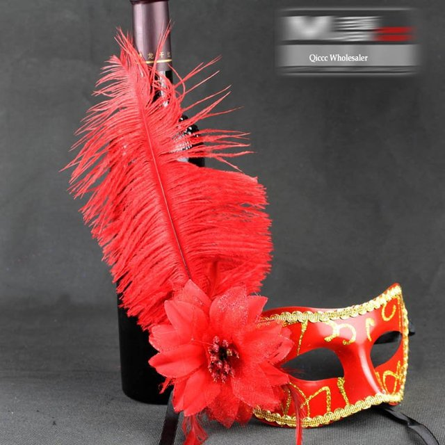 2011 New Arrival halloween party ostrich feather Mask,party carnival mask [Free Shipping]