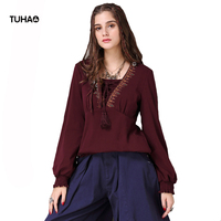 TUHAO Indie Folk T Shirt Women S Tops Lace Up Geometric Embroidery Sleeve Vintage TShirt Woman