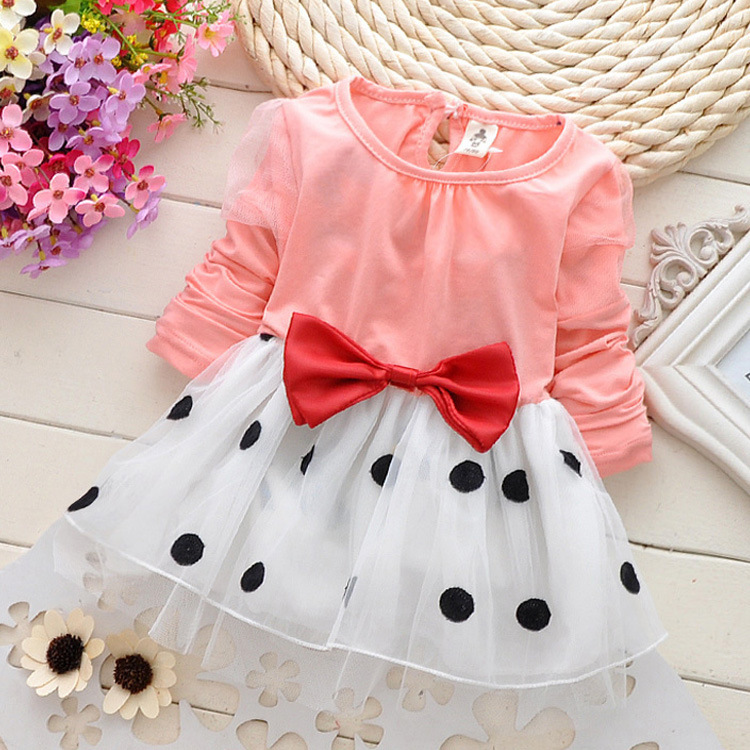 New Cute Baby Girls Dress Cotton Lace Mini Ball Grown Dresses Kids Clothes  0 2 Years Baby girl clothes Bowknot Polk dot dress-in Dresses from Mother    Kids ... 77e598430