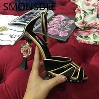 SMONSDLE New Retro Genuine Leather Open Toe Women Sandals Buckle Flower Heel Shoes Woman Black Pink Women Party Dress Shoes