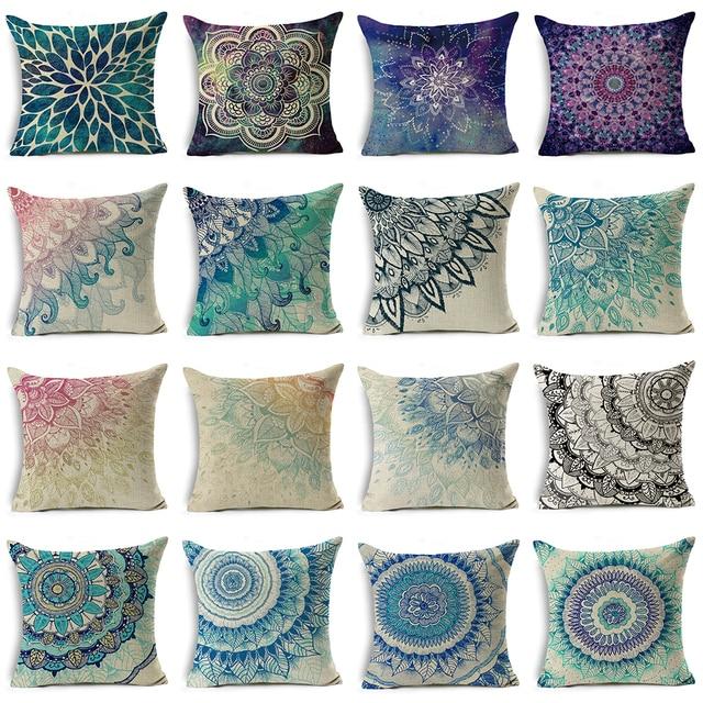 Decorativo Mandala Coperture per Cuscini 45*45 di Cotone di Tela Fodere per Cusc