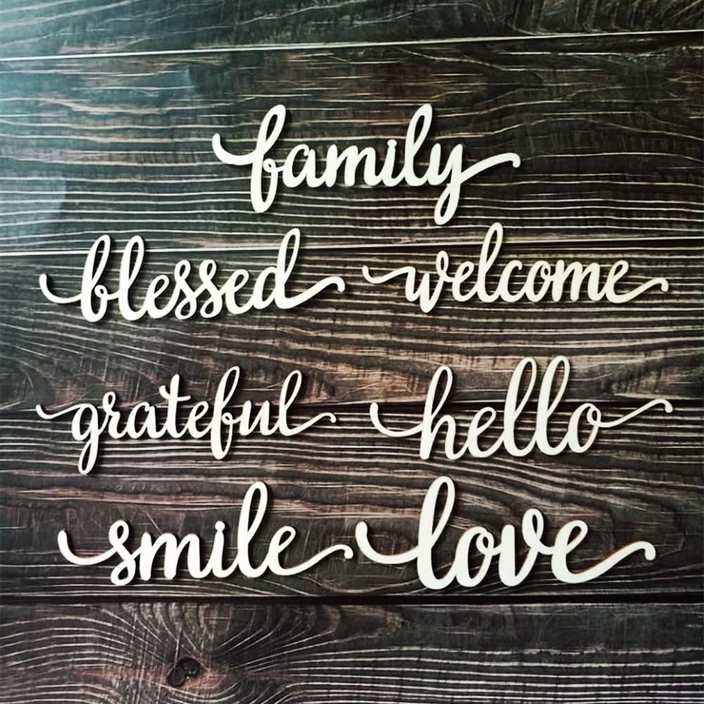 10pcs Laser Cut Wood Family Love Hello
