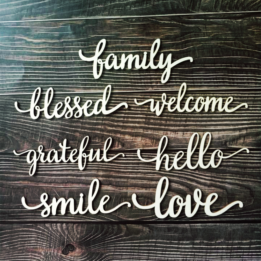 10pcs Laser Cut Wood Family Love Hello Smile Grateful Welcome Blessed Sign Wooden Words Art Word Room Decoration Wall Hanging
