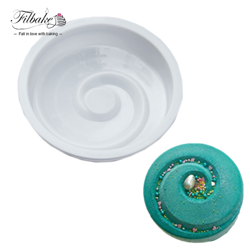 Filbake Silicone Mousse Mold Baking Moulds Freezing Mold Vortex Spiral Round Shaped For Muffin Dessert Pudding Jello Tools