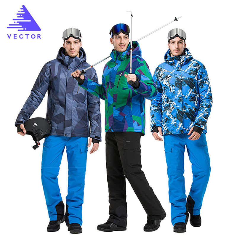 男性スキースーツ暖かい冬厚手のスキージャケット熱スノーボードスーツ防水雪のスーツ女性通気性スキー服 S-XXL