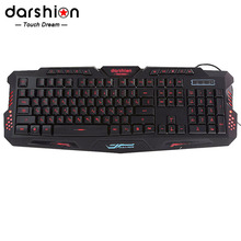 Russian backlit keyboard LED Switch 3-Color USB Wired breathing Waterproof gaming keyboard for dota 2 lol cs Free shipping