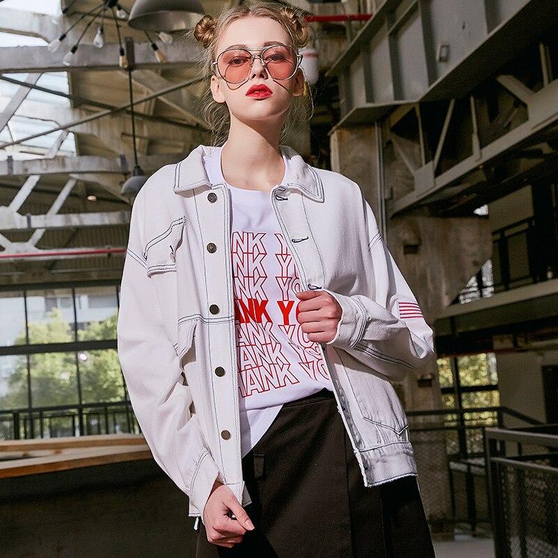 Jean Frappé Femmes Nouvelle Lâche Collection Purple Couleur Mode Outwear Denim 2019 Streetwear Veste Blanc Manteau De white Broderie R6WqH