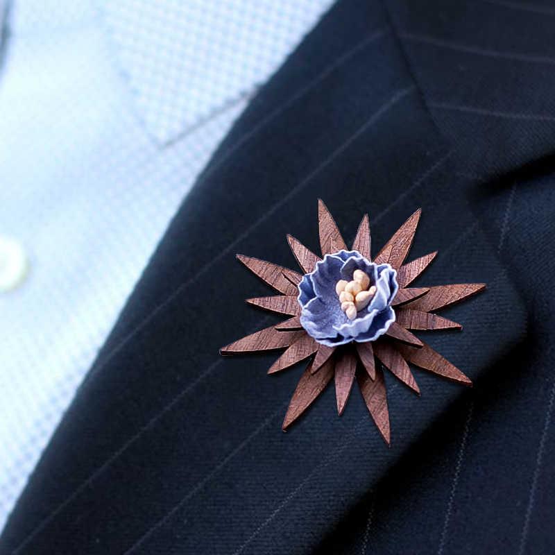 Di Legno fatti a mano Spilla Da Sposa Risvolto del fiore Spille Retrò Risvolto Spilli per Gli Uomini di Vestito Degli Uomini di Modo decorazione di legno per gli uomini di nozze