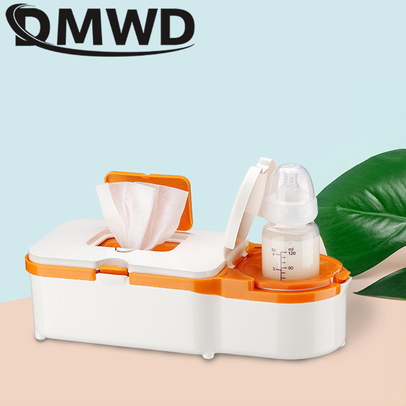 DMWD Car Use Baby wipes heater thermostat Wet Towel Dispenser Tissue Paper Case Household Milk Feeding Bottle Warmer EU US plug