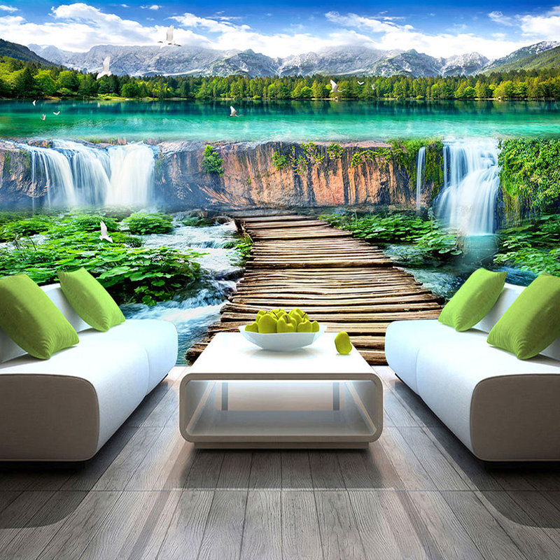 Chinese Style Waterfalls Landscape Wood Bridge Photo Mural Wallpaper Living Room TV Sofa Backdrop Wall Covering Home Decor Mural