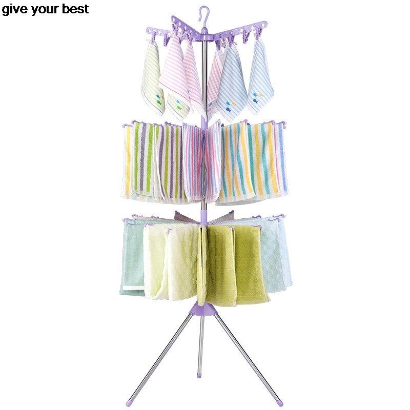 3 niveaux vêtements séchage Rack stockage Rack cravate ceinture organisateur gain de place rotatif écharpe cravates cintre pliable magique cintres