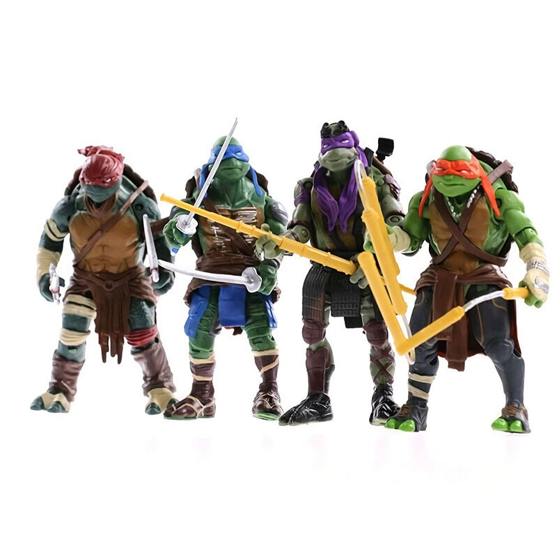 4pcs Cartoon Model Turtle Ninja Doll Ornaments Hand Model Car Accessories Joint Movable Weapons can be disassembled Kid's Gift