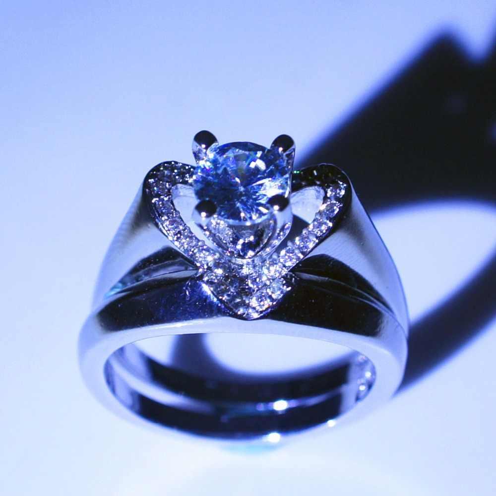 Marca de Cristal Do Sexo Feminino Branco Conjunto Anel de Casamento de Luxo 925 Prata Coração Anéis de Casamento Para As Mulheres Anel de Noivado De Noiva Do Vintage