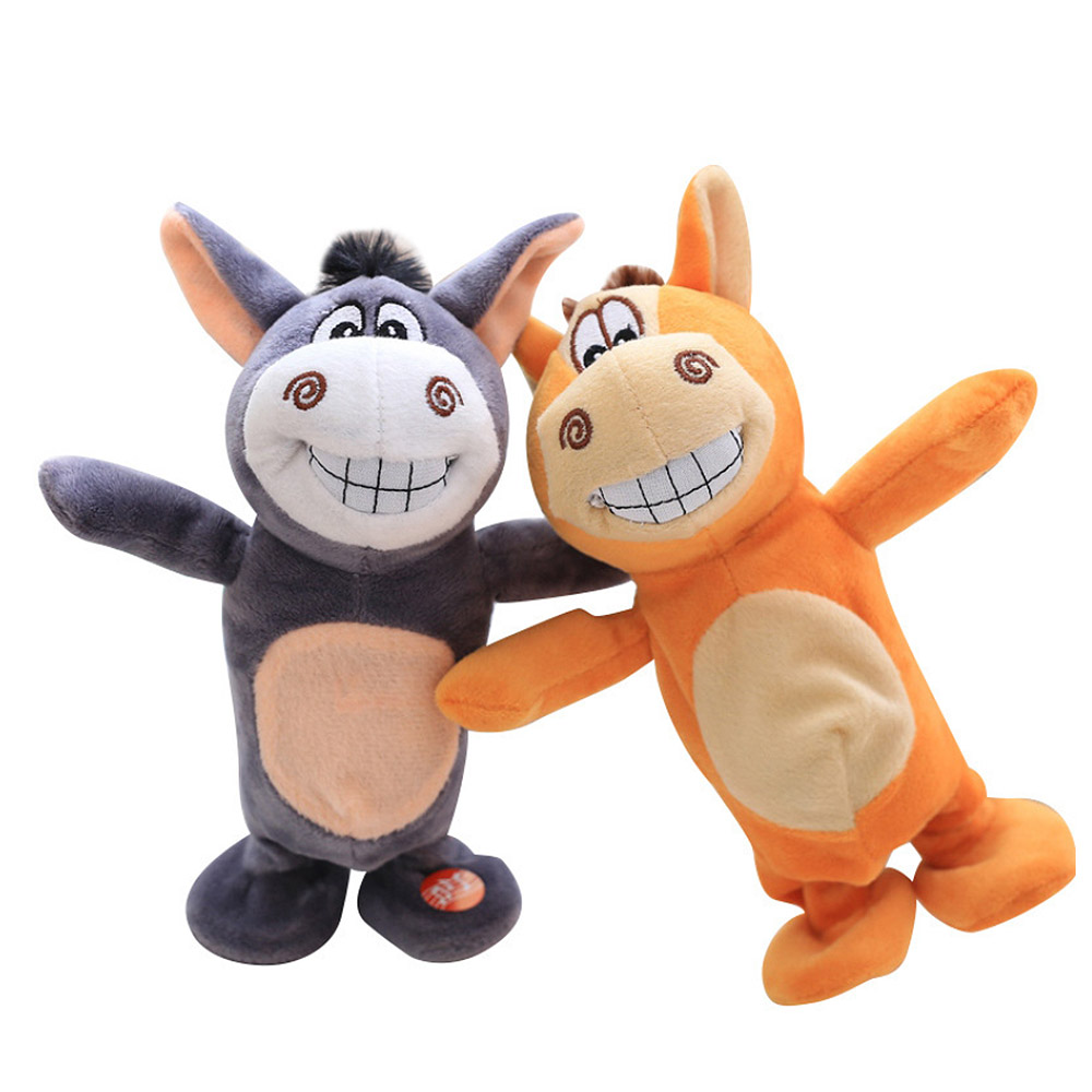 Electronic Talking Donkey Cows Plush Toy Cute Speak Music And Walk Dolls Pets Plush Toys Electric Talking Walk Animals J71