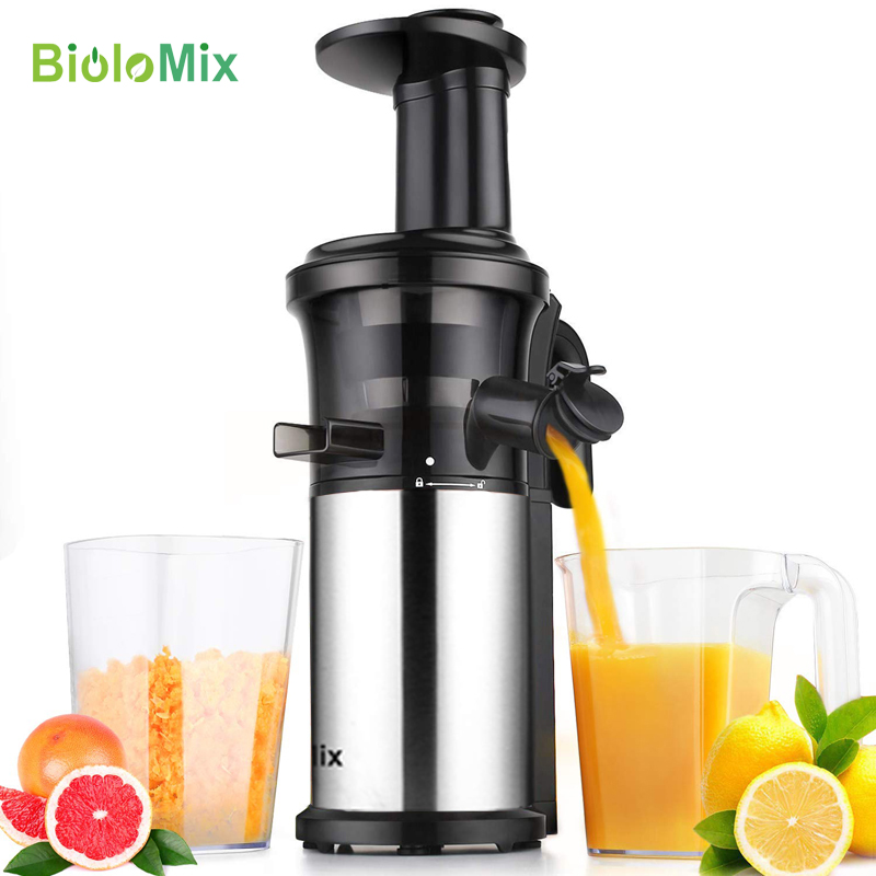 BPA FREE Stainless Steel 200W Masticating Slow Juicer Fruit and Vegetable Juice Extractor Compact Cold Press