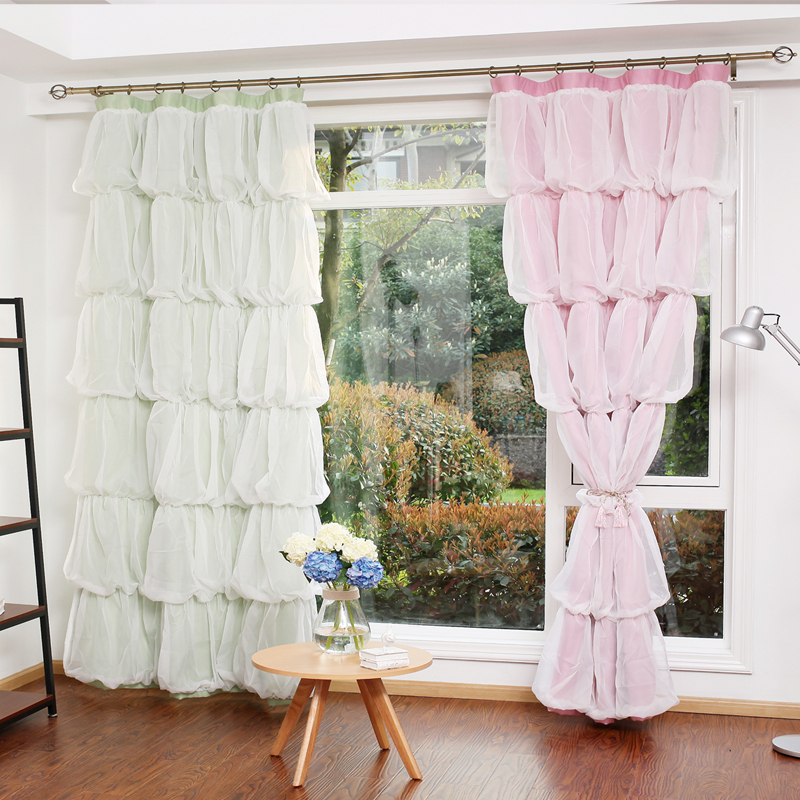 Custom Princess Beauty Korean Style Shade Curtain for Girls Bedroom Cake Pattern Lace Sheer Tulle Curtain Living Room Window