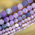 wholesale Purple Frosted Agate Round Loose Beads 15 inch Pick Size 6/8/10/12/14 mm Beads For Jewelry Making Diy Bracelet -F00053