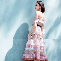 2018 New Arrival Long Sleeve Spring Summer Hollow Out Pink Lace Dress Women Sexy Sweet Slash