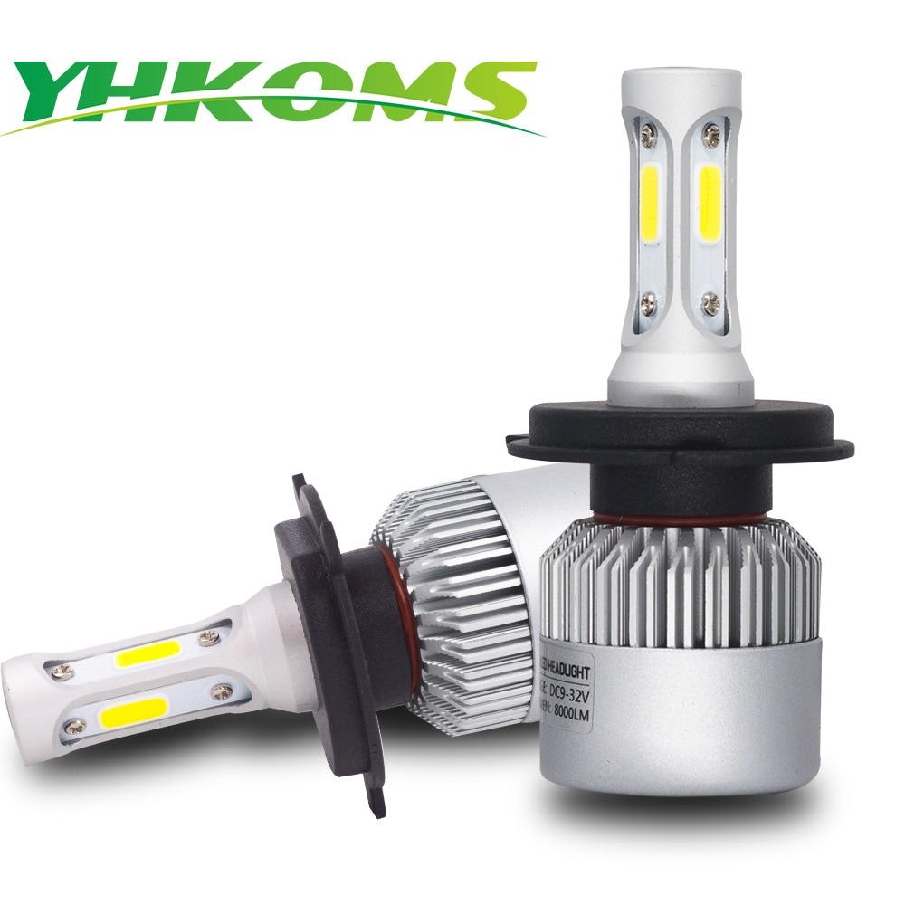 YHKOMS Car Headlight H4 LED H7 H8 H11 9005 9006 880 881 H27 H13 9004 9007 Hi/Lo Beam LED Bulb COB Auto Lamp Fog Light 8000LM 12V