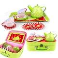 Pretend play kid cozinha 40 cm folha de flandres portátil conjunto brinquedo educativo para as crianças da tarde hora do chá em miniatura toys para meninas