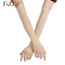 YiZYiF seksowne rękawiczki damskie gładkie Sheer Seamles długie rękawiczki rękawiczki do ochrony przed słońcem rękawiczki panny młodej bezszwowe przepuszczalne rękawiczki tanie tanio Stałe Dla dorosłych Opera Moda Sheer Seamles Long Gloves Kobiety Mesh Spandex