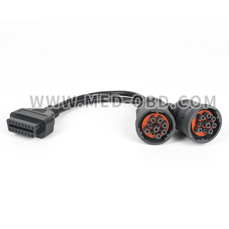Deutsch splitter Y cable 2pcs 9pin Truck OBD2 16pin Female to 2pcs J1939 9pin Y  OBD2  cable