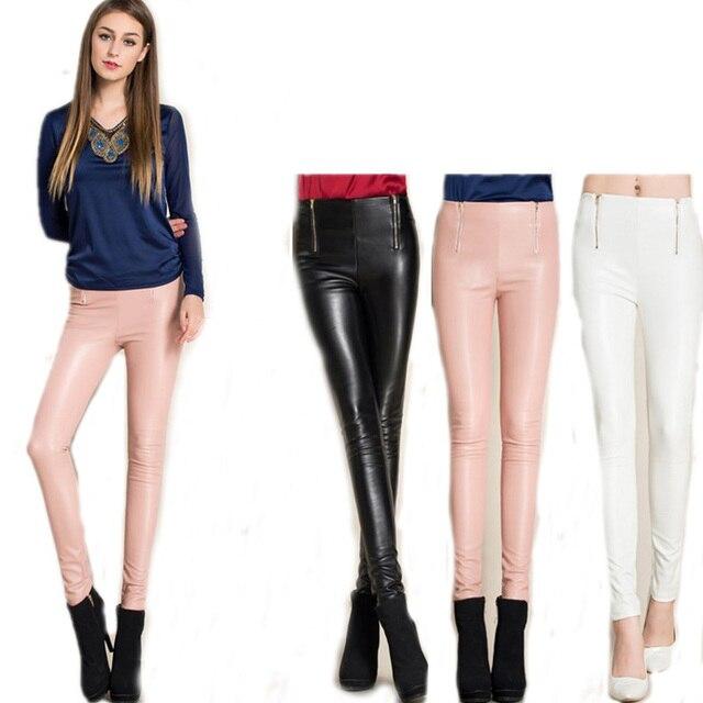 New 2016 Fashion Autumn Skinny Leather Trousers Women Pink Black White Pencil Pants Velvet  PU Leather Leggings Female Outwear