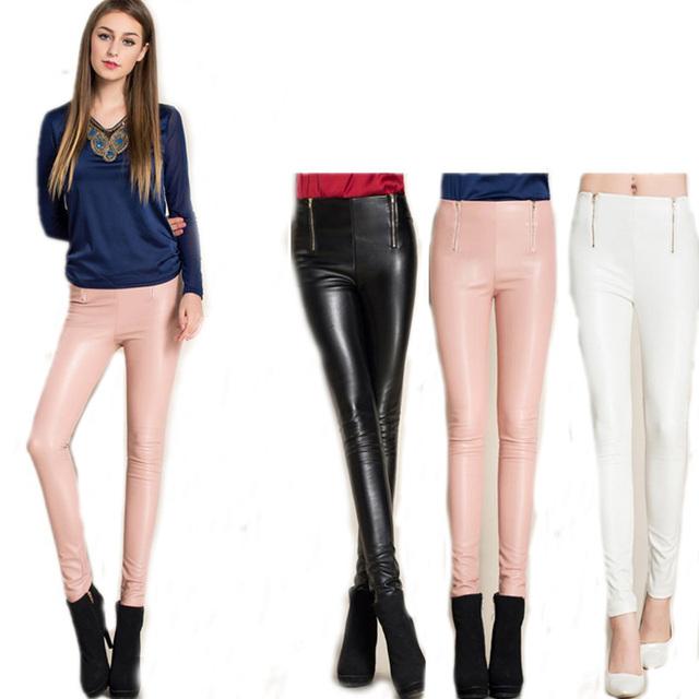 Novo 2016 Moda Outono Magro Calças De Couro Das Mulheres Preto Rosa Branco Calças Lápis de Veludo Leggings De Couro PU Outwear Feminino