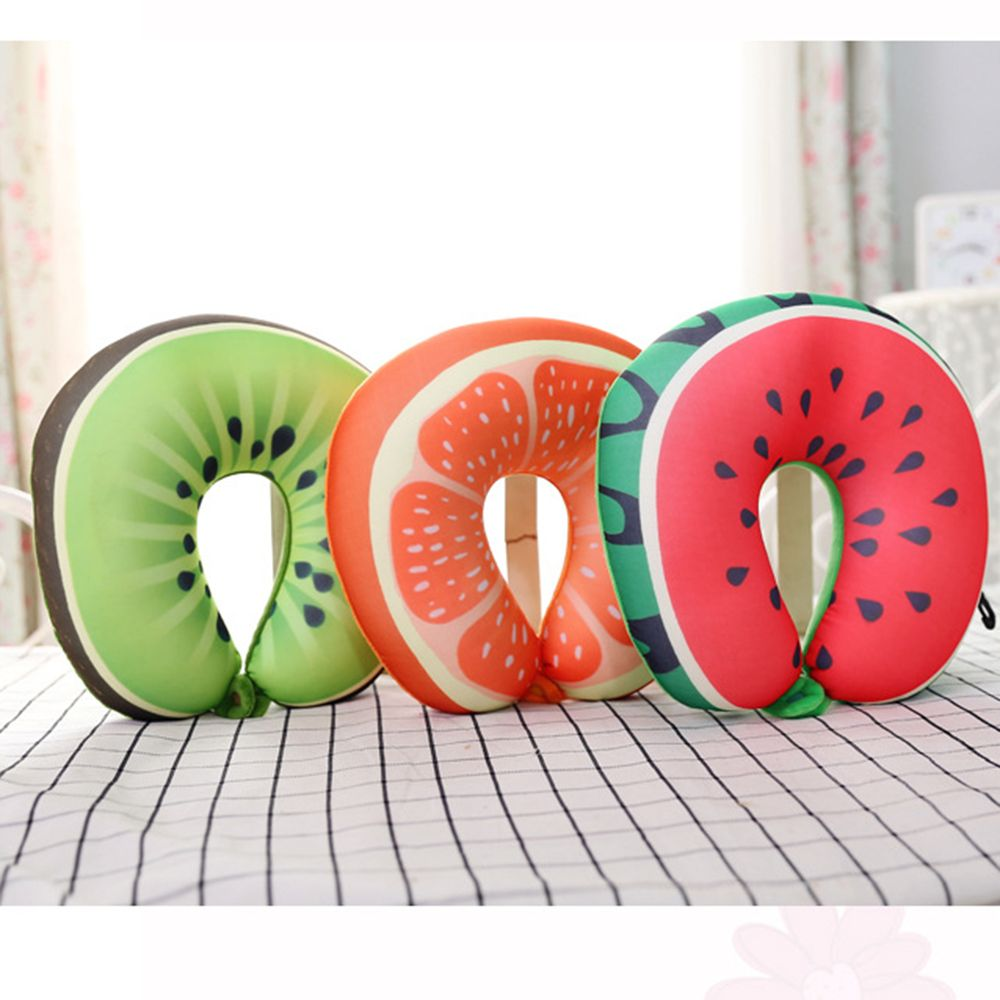 Fruit U Shaped Travel Pillow Nanoparticles Neck Pillow Watermelon Lemon Kiwi Orange Pillows Soft Cushion Travel Accessories u miss functional inflatable neck pillow inflatable u shaped travel pillow car head neck rest air cushion for travel neck pillow