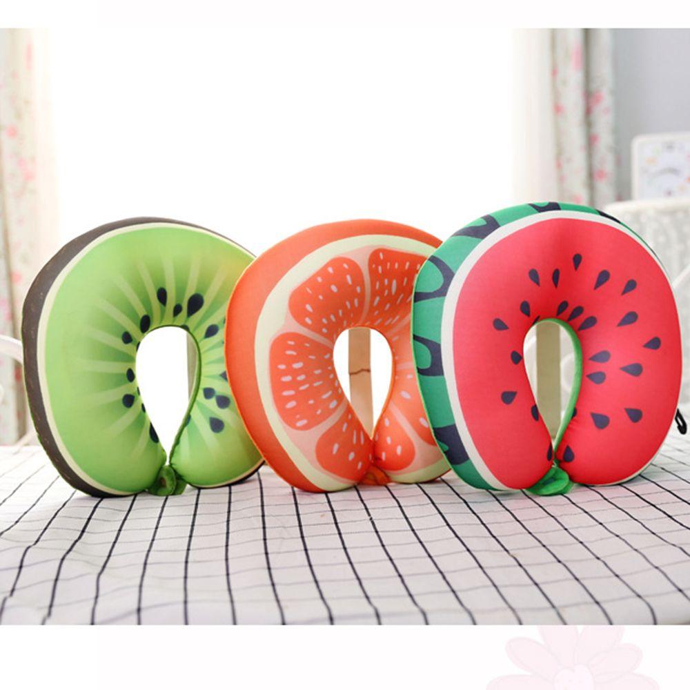 Fruit U Vormige Reiskussen Nanodeeltjes Nekkussen Watermeloen Citroen Kiwi Oranje Kussens Zacht Kussen Reizen Accessoires