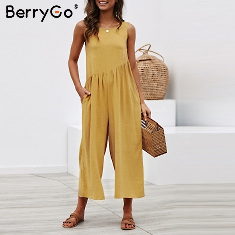 BerryGo women rompers Sexy wide leg solid   jumpsuit   Sleeveless backless plus size   jumpsuit   Casual ladies summer loose romper 2019