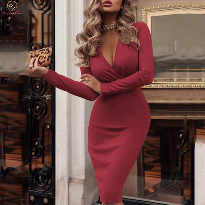 Sexy Knee Length   Cocktail     Dresses   2019 V Neck Formal Party Evening Gowns Burgundy Mermaid Long Sleeve robes de longueurs genoux