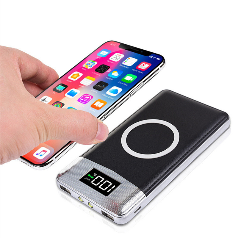 External Battery Bank Built-in 20000mah Power Bank Wireless Charger Powerbank Portable QI Wireless Charger for iPhone 8 8plus X