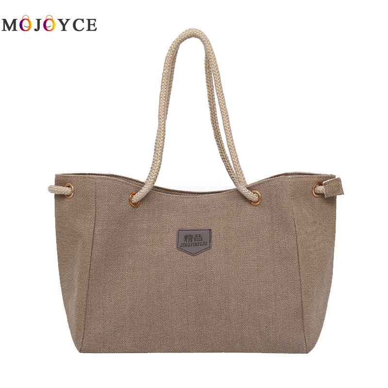 34x24x14cm Large Capacity Lady Canvas Tote Women Shoulder Bag Fashion Solid Color Rope Strap Casual Handbags Bolsa Feminina