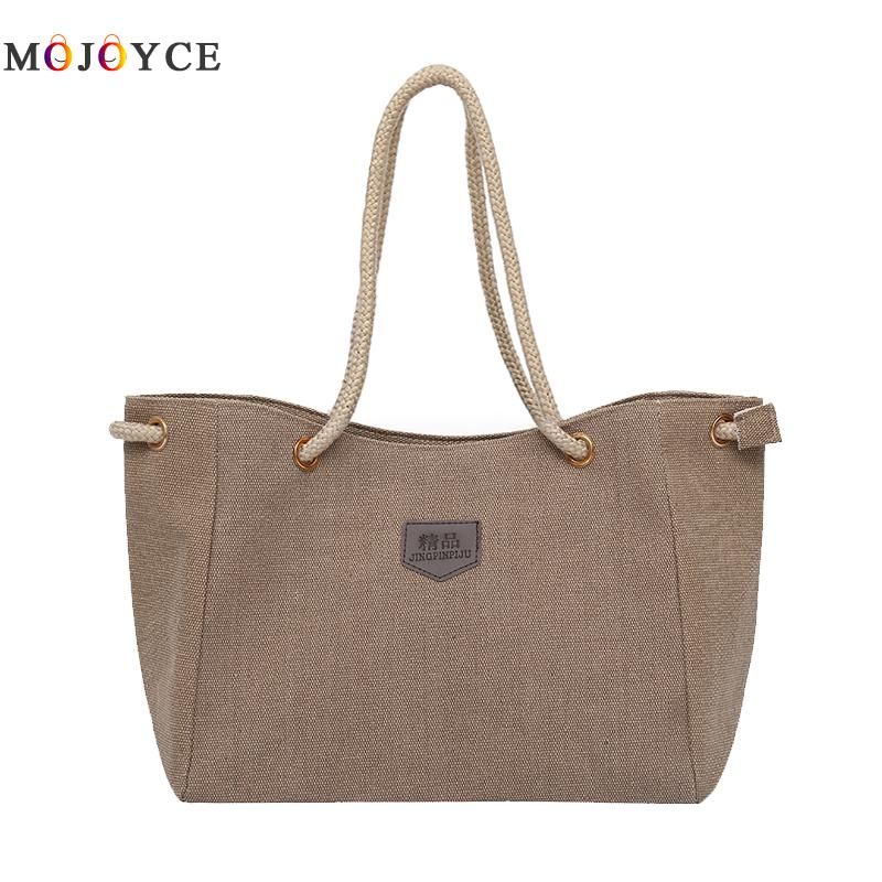 Large Capacity Lady Canvas Tote Women Shoulder Bag Fashion Solid Color Rope Strap Casual Handbags Bolsa Feminina brand designer large capacity ladies brown black beige casual tote shoulder bag handbags for women lady female bolsa feminina